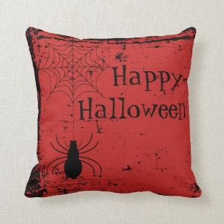 Blood Red Halloween Spider Spider Web Distressed Cushion