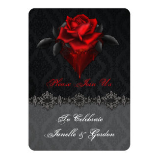 Blood Red Roses Black Damask Reception Only 13 Cm X 18 Cm Invitation Card