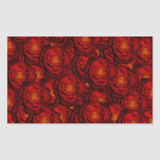 Blood red roses rectangular sticker