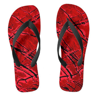 BLOOD RED ROYALE (an abstract art design) ~ Flip Flops