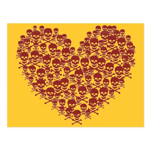 Blood Red Skull Heart Post Card