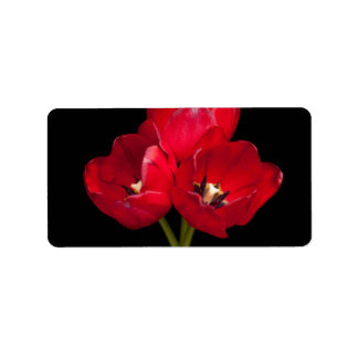 Blood Red Tulips on Black Background Customized Label