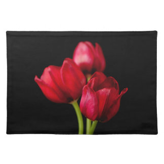 Blood Red Tulips on Black Background Customized Placemat