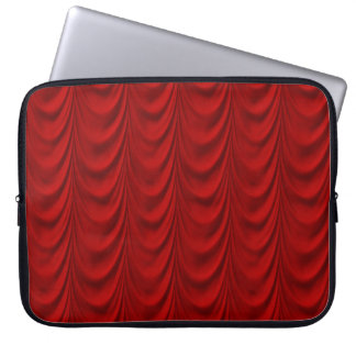 Blood Red Velvet and Black Lace Plush Fabric Laptop Computer Sleeve