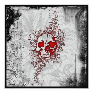 Blood Skull Goth Grunge Invitation