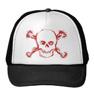 Blood Smeared Skull Bloody Cross Bones Mesh Hat