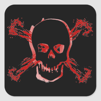 Blood Smeared Skull & Bloody Cross Bones Square Sticker