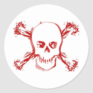 Blood Smeared Skull & Bloody Cross Bones Stickers