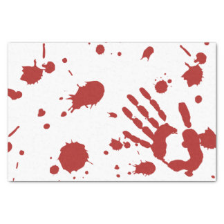 "Blood Soaked Bloody Hand Print Halloween 10"" X 15"" Tissue Paper"