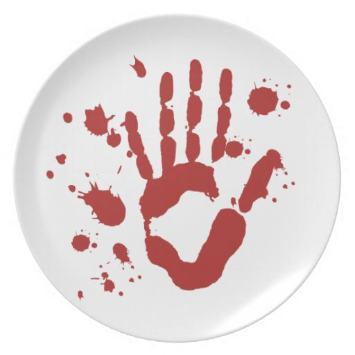 Blood Spatter Bloody Hand Print Halloween Props Party Plate