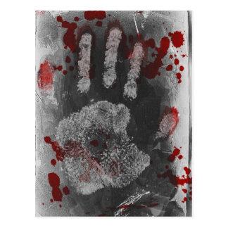 Blood Splatter Handprint Postcard