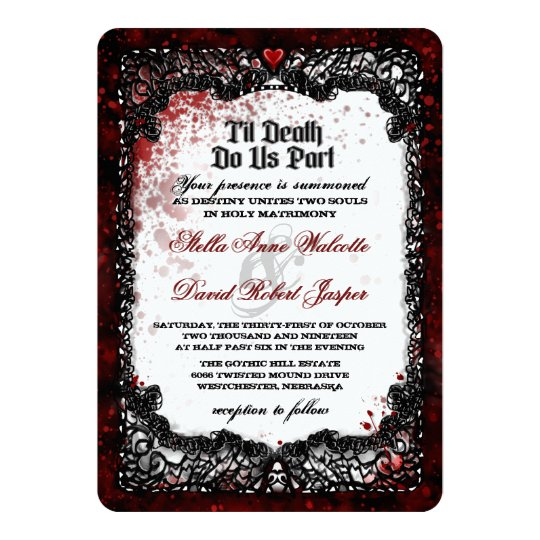 Blood Splattered Halloween Wedding RECEPTION INFO Card