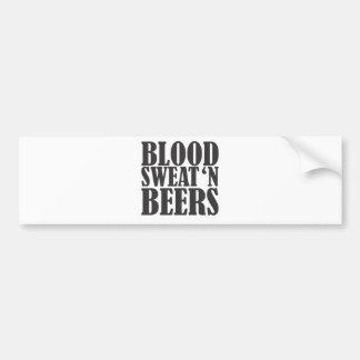blood sweat n beers car bumper sticker