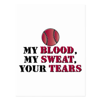Blood sweat tears - baseball/softball postcard