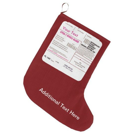 Blood Transfusion Bag Large Christmas Stocking