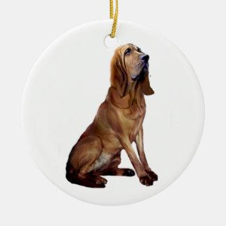 Bloodhound (B) - Sitting Round Ceramic Decoration
