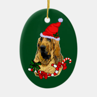 Bloodhound Christmas Ceramic Oval Decoration