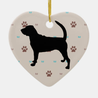 Bloodhound Double-Sided Heart Ceramic Christmas Ornament