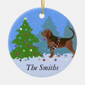 Bloodhound Dog Decorating Christmas Tree Christmas Ornament