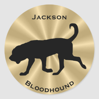 Bloodhound Dog Silhouette Customizable Text Classic Round Sticker
