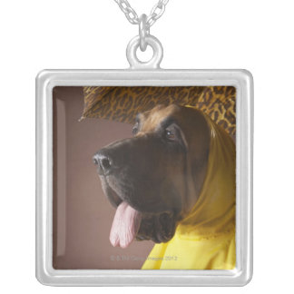 Bloodhound dog. silver plated necklace
