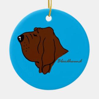 Bloodhound head silhouette round ceramic decoration