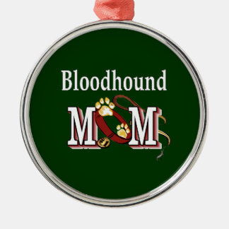 Bloodhound Mom Silver-Colored Round Decoration
