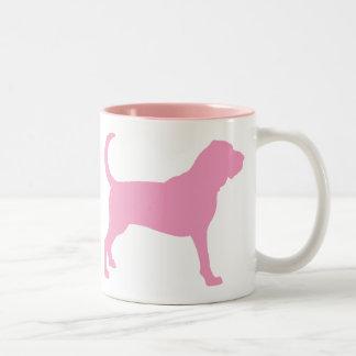 Bloodhound (pink) Two-Tone coffee mug