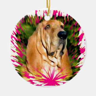 Bloodhound Round Ceramic Decoration