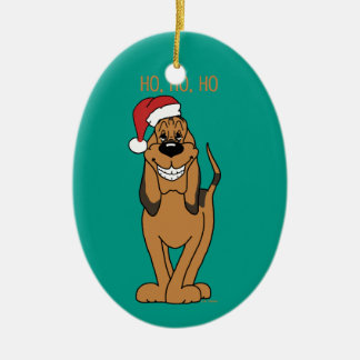 Bloodhound Santa Ceramic Oval Decoration