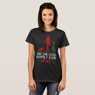 Bloodhound She Lived Happily Ever After Christmas T-Shirt