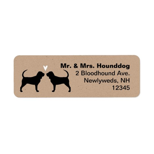 Bloodhound Silhouettes with Heart Return Address Label