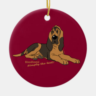 Bloodhound - Simply the best! Round Ceramic Decoration
