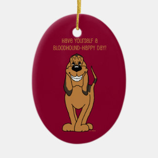 Bloodhound Smile Ceramic Oval Decoration