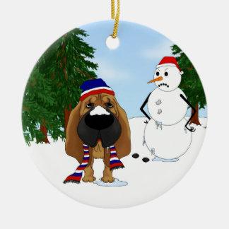 Bloodhound Winter Scene Round Ceramic Decoration