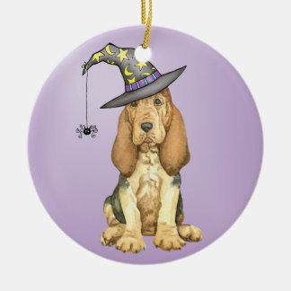Bloodhound Witch Round Ceramic Decoration