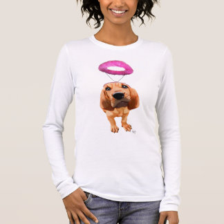Bloodhound With Angelic Pink Halo Long Sleeve T-Shirt