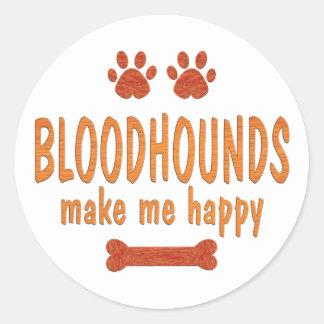 Bloodhounds Make Me Happy Classic Round Sticker