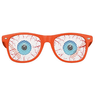 Bloodshot Blue Eyeballs Halloween Retro Sunglasses