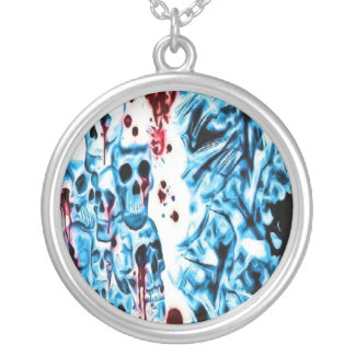 Bloody Blue Skull Necklace