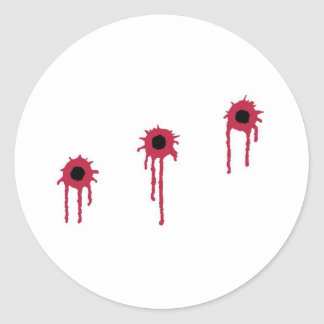 BLOODY BULLET HOLES CLASSIC ROUND STICKER