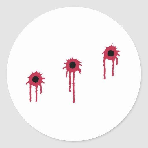 BLOODY BULLET HOLES ROUND STICKER