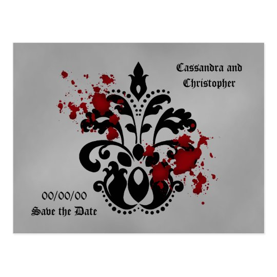 Bloody damask save the date postcard