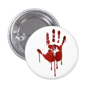 Bloody halloween hand 3 cm round badge