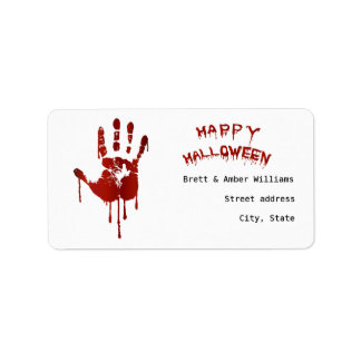 Bloody halloween hand address label
