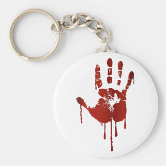 Bloody halloween hand basic round button key ring