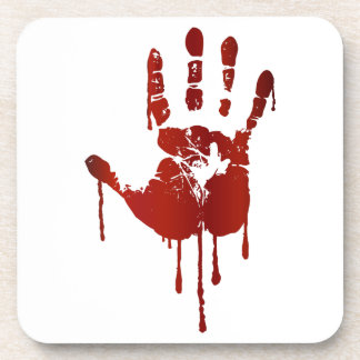 Bloody halloween hand beverage coasters