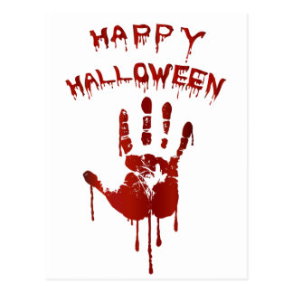 Bloody halloween hand postcard