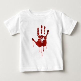 Bloody halloween hand | text on back baby shirt