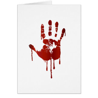 Bloody hand greeting card